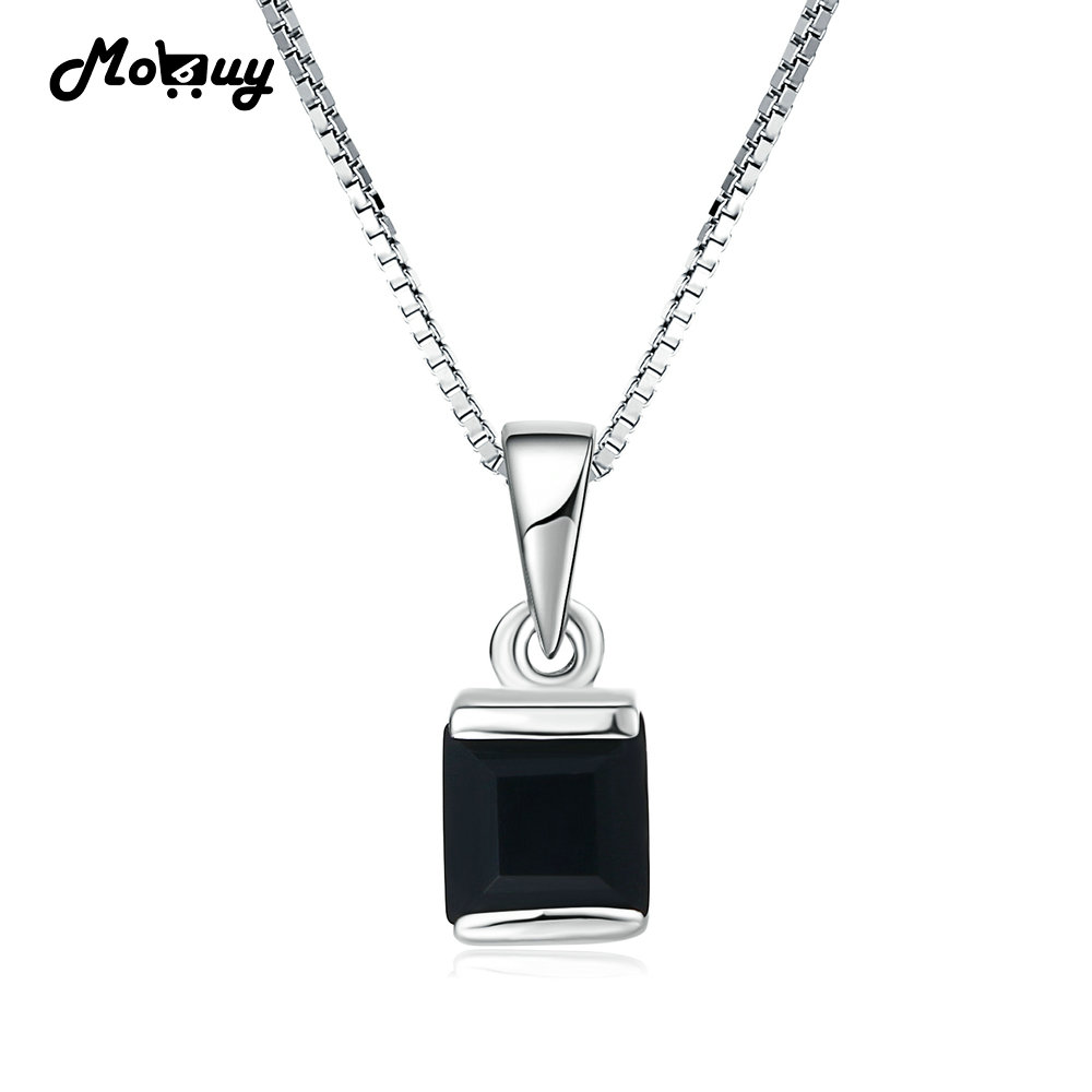 MoBuy MBNI039 Gemstone Square Black Chalcedony Necklaces Pendants 925 Sterling Silver White Gold Fine Jewelry For