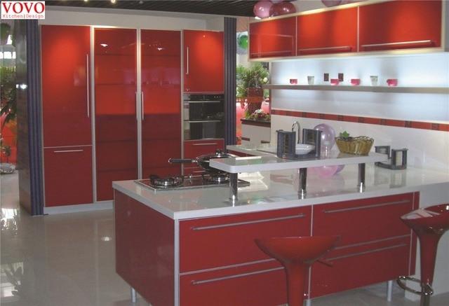 Rojo Brillante muebles de cocina en Gabinetes de cocina de Mejoras ...