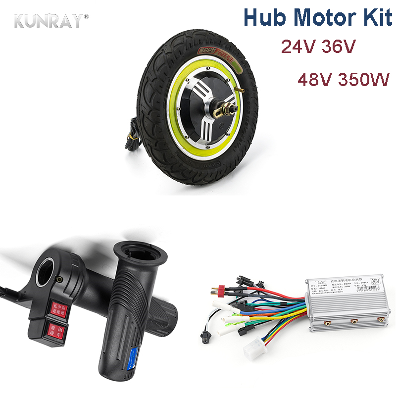 Electric Bike DC Motor 24V 36V 48V 350W Hub Brushless Motor With Controller For Electric Vehicle, Twist Throttle escooter Parts