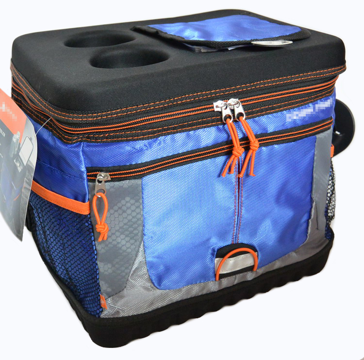 brand big capacity waterproof cooler bag hard top bottom picnic box vehicle insulated cool shoulder bag