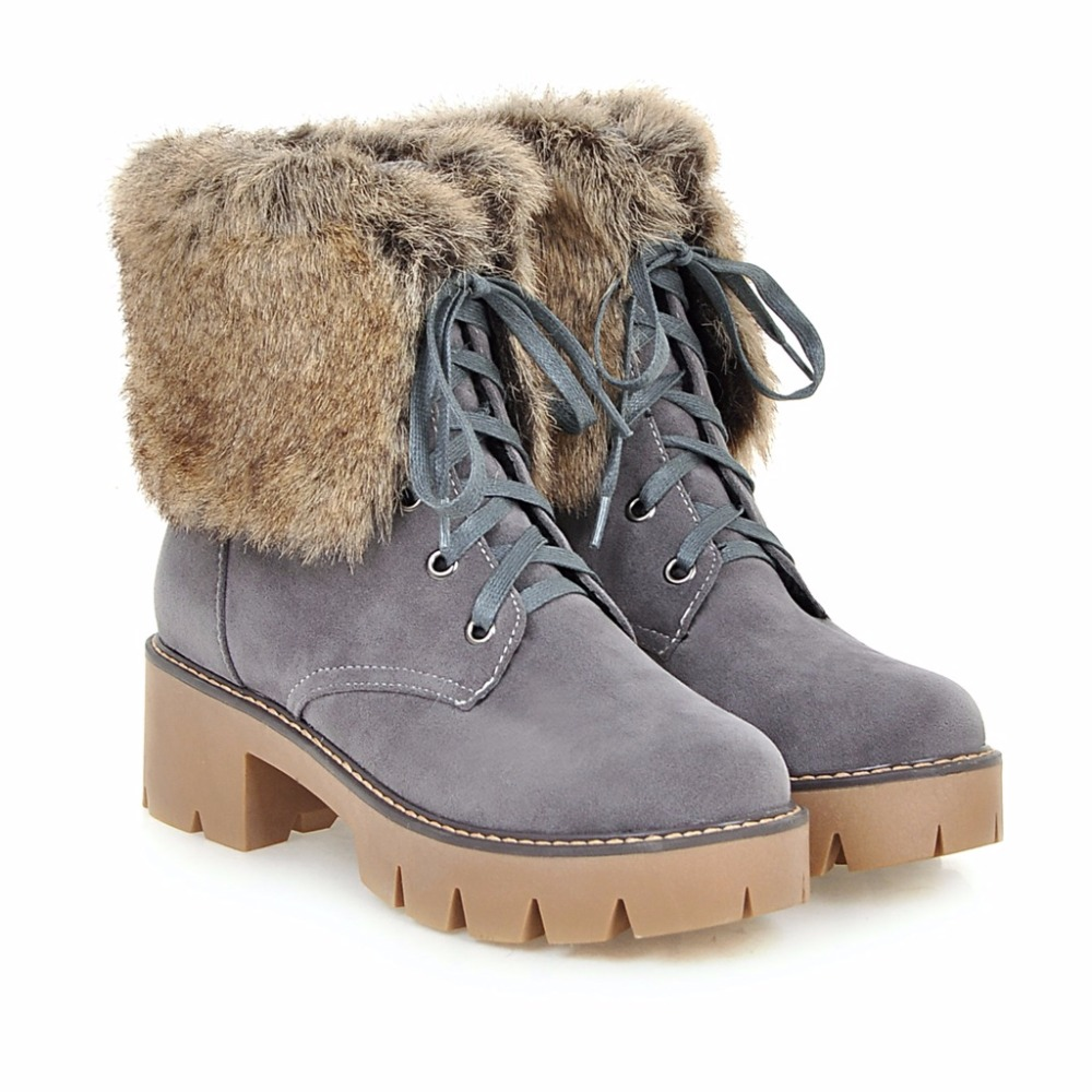 Women Snow Boots 2016 New Arrival Round Toe Hoof Heels Lace Up Chunky Nubuck Leather Lady Short Boots Plus Size 41 42 43 only true love new arrival genuine leather women fashion flat heels equestrian snow boots round toe women boots