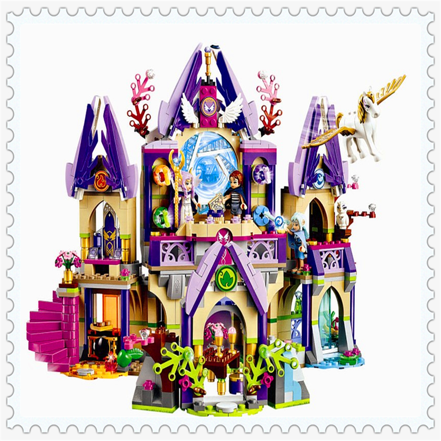 809Pcs Elves Skyra's Mysterious Sky Castle Model Building Block Toys Enlighten 10415 Gift For Children Compatible Legoe 41708 2017 10415 elves azari aira naida emily jones sky castle fortress building blocks toy gift for girls compatible lepin bricks