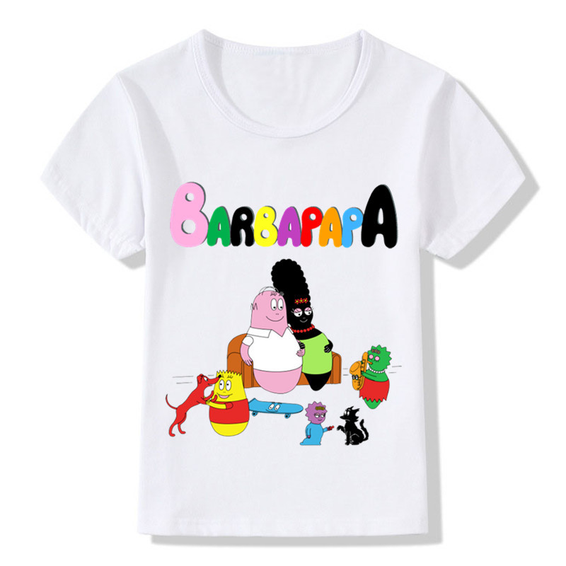 0cb68d9cfb08 2 14 Year Old,Boys and Girls Cute Barbapapa Cartoon Print Funny Enfant  Summer Short Sleeve White T shirt Kids Casual Clothes-in T-Shirts from  Mother & Kids ...