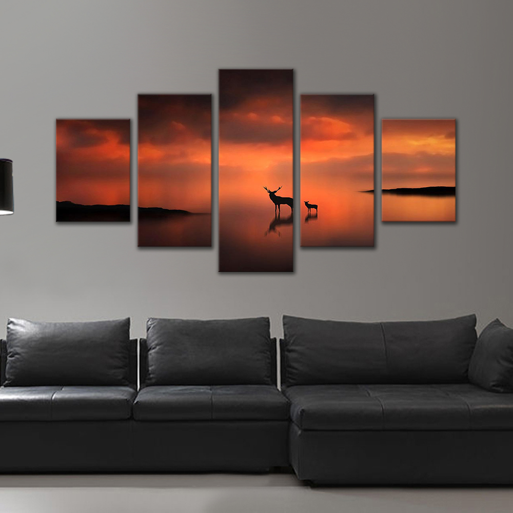 Unframed HD Print 5 Canvas Art Paintings Sunset With Size Elk Canvas Mural Living Room Decoration Picture Free Shipping