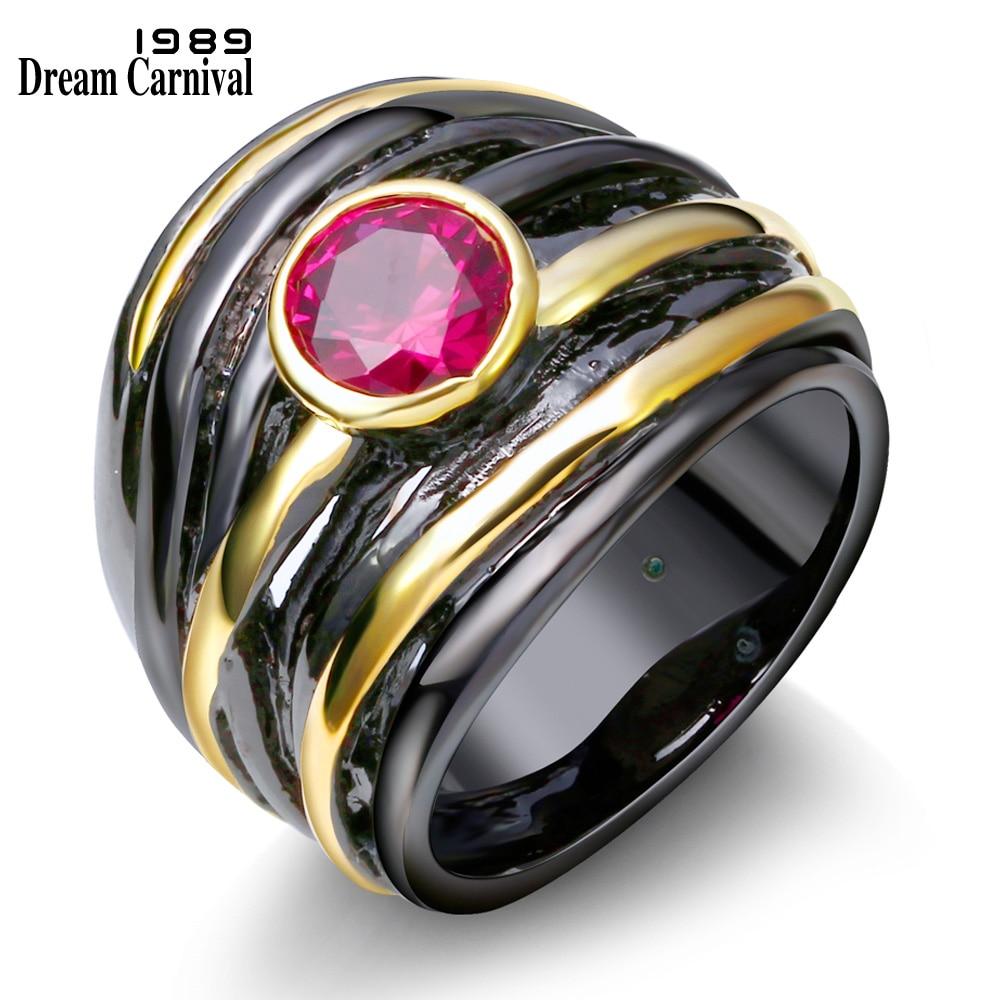 DreamCarnival 1989 Solitaire gyűrű nőknek Vintage fekete arany színű fukszia piros CZ esküvői felek Ékszerek anillos mujer R04