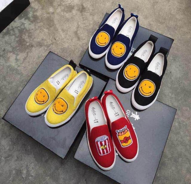 0f506e0ba6ea Fashion JOSHUA SANDERS Brand Designer woman casual sneaker Smiling face of  shoes flats black suede flat platform women shoes