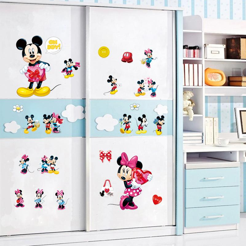 Minnie Mickey mouse wall art decals kids gift home decorative stickers diy cartoon animal nursery boys bedroom stickers