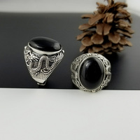 Pure 925 Sterling Silver Adjustable Rings For Man With Stones Natural Black Onyx Dragon Engraved Retro Vintage Thai Silver Ring