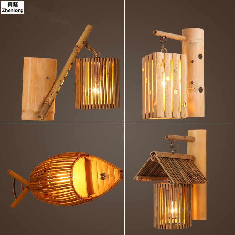Американский конопли Bamboo Юго-Восточной Азии творческий ресторан кафе настенный светильник Китайский коридор коттедж Bamboo стены светильники