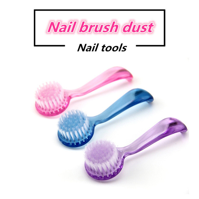 500pcs Nail Dust Powder Clean Brush Clear Plastic Round Make Up Washing Brushes With Cap Manicure