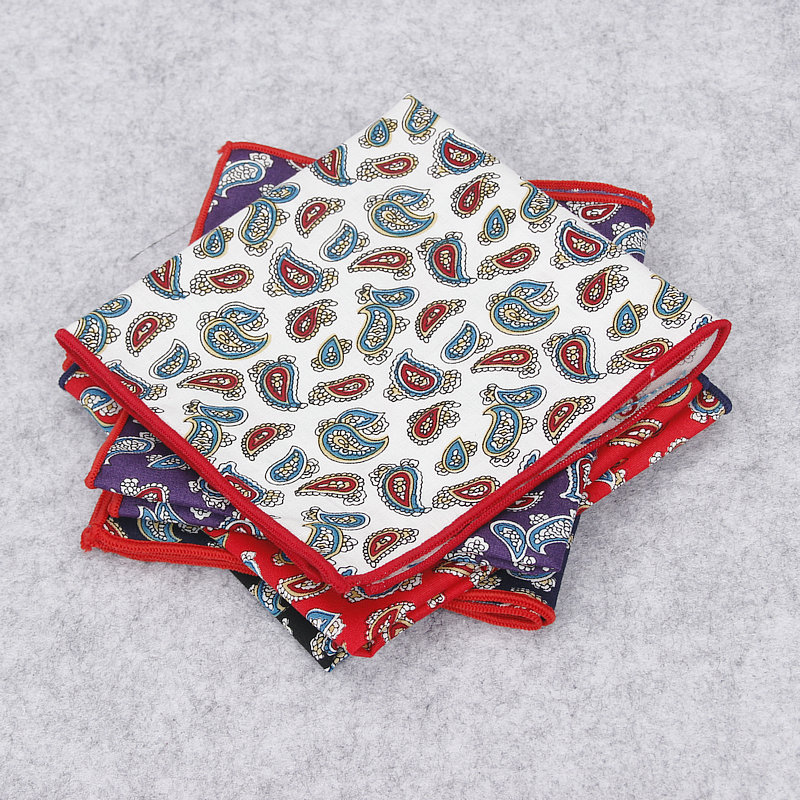 2018 Brand New Men's Fashion Hankerchief Scarves Vintage Cotton Hankies Men Pocket Square Paisley Classic Print Hanky Towel