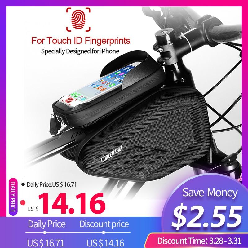CoolChange Fahrrad Tasche Rahmen Vorne Kopf Top Rohr Wasserdicht Radfahren Tasche Doppel IPouch 6,0 6,2 Zoll Touch Screen Bike Zubehör
