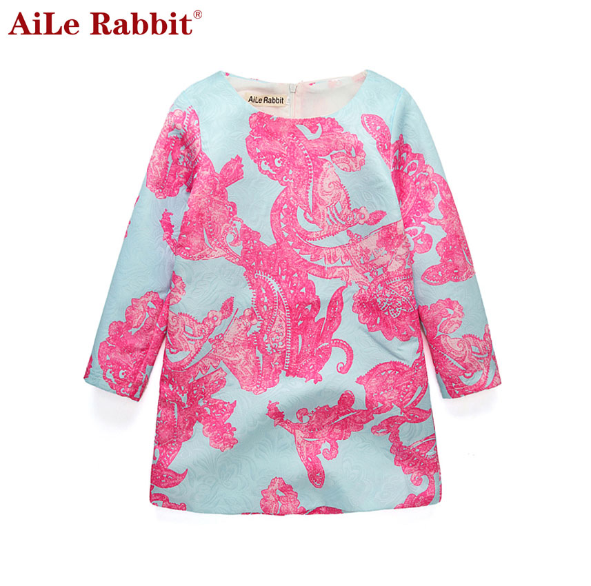 AiLe Rabbit 2017 Summer New Cotton Casual Cute Princess Dress Print  Long Sleeve Round Neck Baby Girls Clothing Dress cute long sleeve round neck floral print princess dress for girls