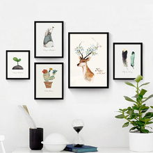 Modern Nordic Kawaii Animal Plant Poster Print Nursery Wall Picture Deer Rabbit Leaf Cactus Canvas Painting For Office Kids Room