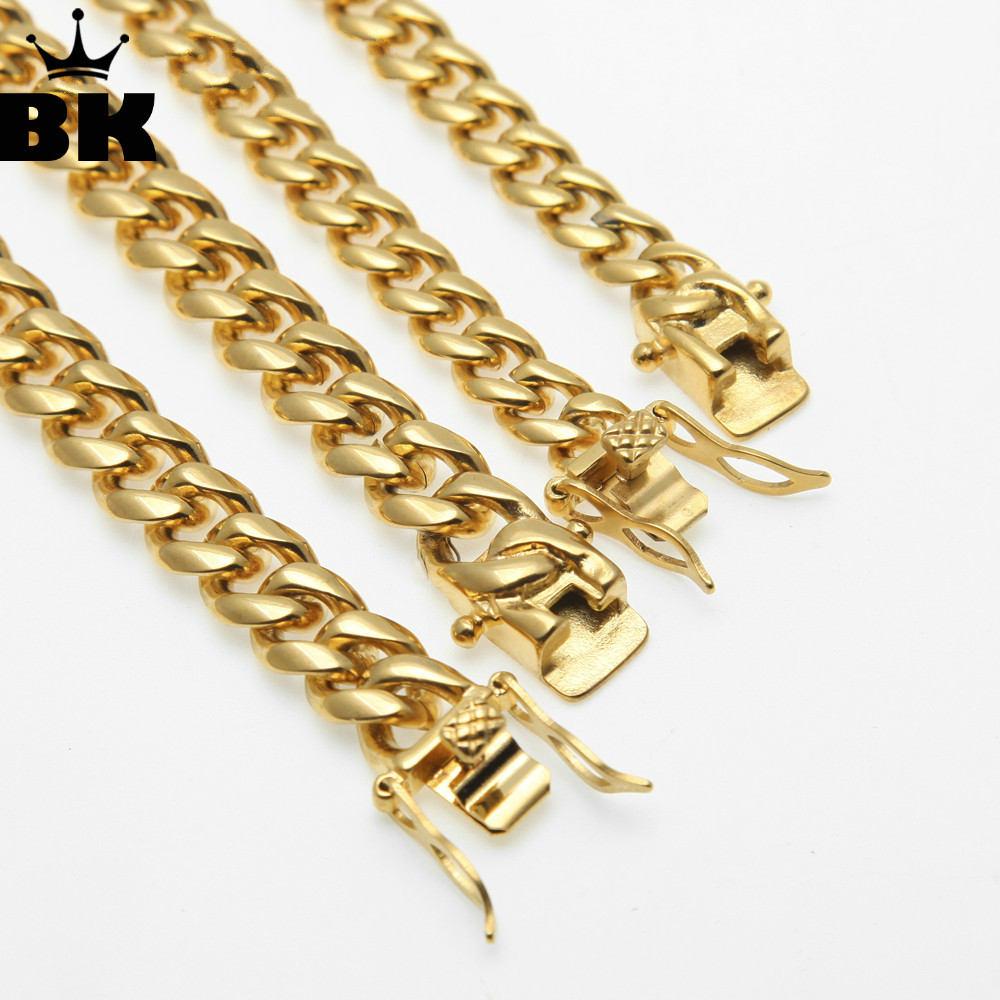 8mm/10mm/12mm/14mm Stainless Steel Curb Cuban Link Chain Hip Hop Punk Heavy Gold Silver Plated Cuban Necklace For Men 30inch punk style silver plated etched star circle pendnat necklace for men