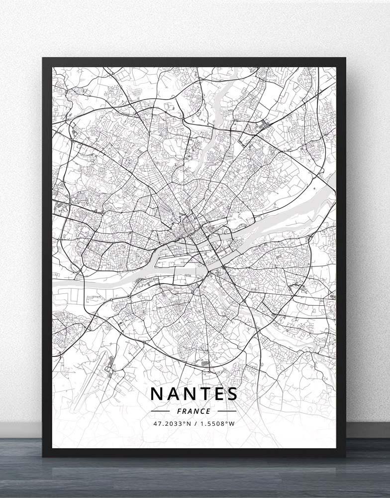 Nantes Nice Nimes Orleans Perpignan Reims Rennes Rouen Saint-Etienne Paul Strasbourg Toulon Toulouse Tours France Map Poster