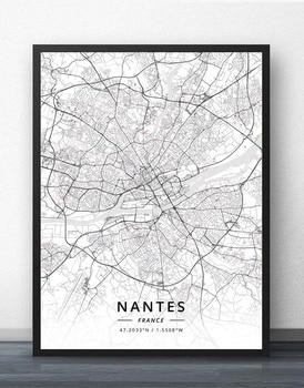 Nantes Nice Nimes Orleans Perpignan Reims Rennes Rouen Saint-Etienne Paul Strasbourg Toulon Toulouse Tours France Map Poster hamza strasbourg