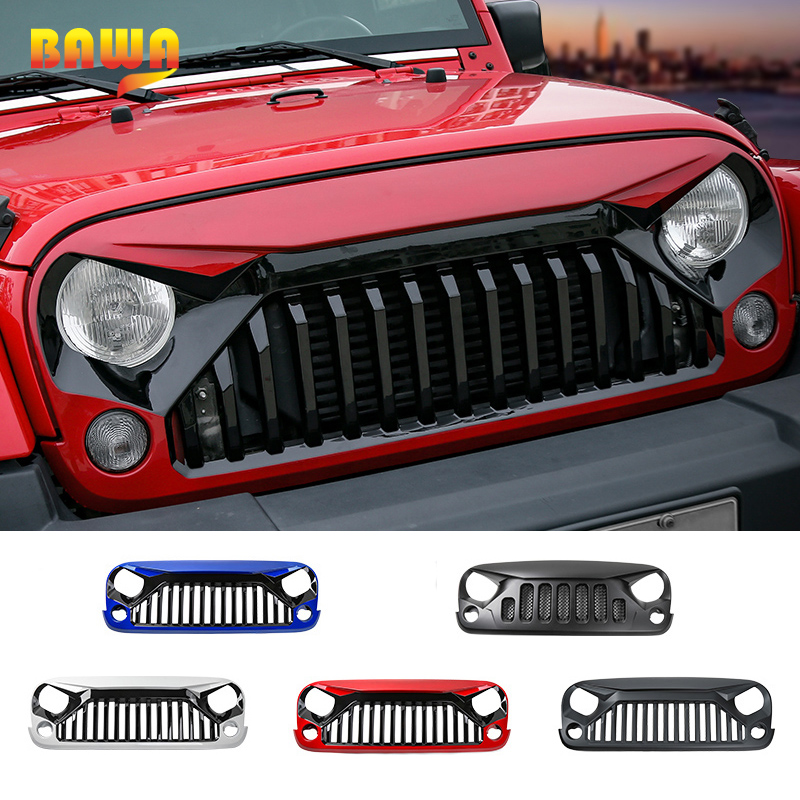 BAWA Racing Grills for Jeep Wrangler JK 2007 2017 ABS Black White Red Blue Front Grille