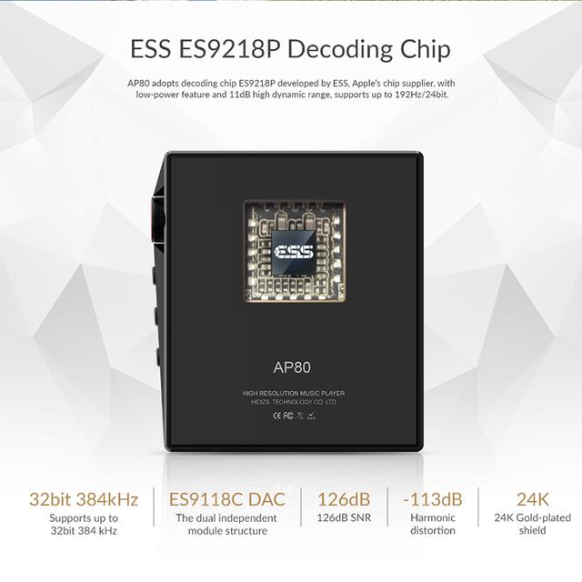 Hidizs AP80 Hi-Res ES9218P Bluetooth HIFI Music MP3 Player LDAC USB DAC DSD 64/128 FM Radio HibyLink FALC DAP