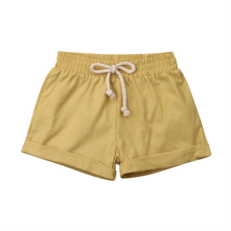 Letnie dziecko maluch chłopcy dziewczęta spodnie bawełniane i lniane spodenki jednokolorowe paski dziecięce spodenki haremki