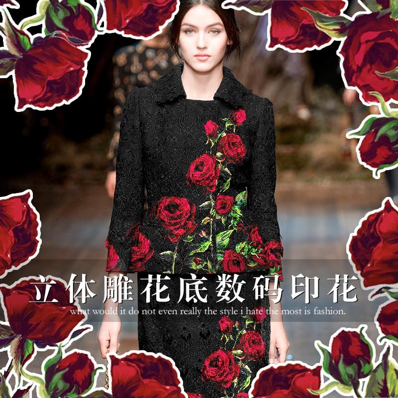 70 * 140cm / db Rózsa vezető digitális nyomtatás jacquard divat szövet kabát sötét szemű ropogós szövet au méter világos ruhát DIY
