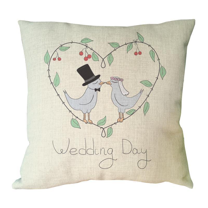 ⊱Día de la boda impreso cojín boda corazón forma almohada felicidad ...