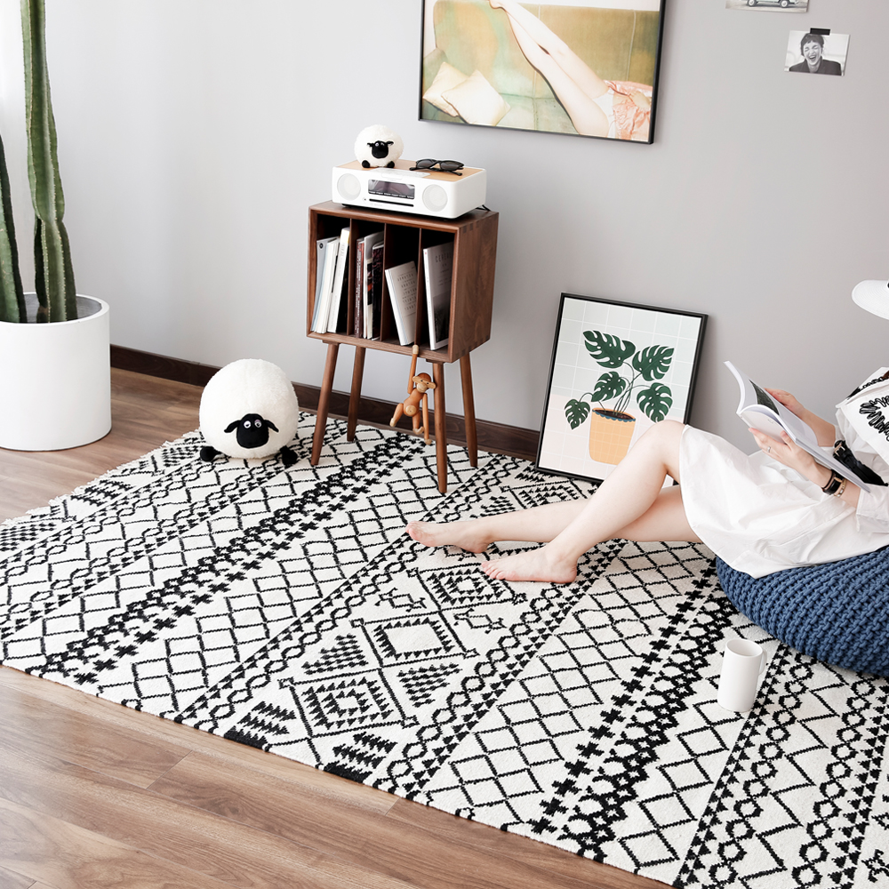 Black And White Geometric Rugs For Sale: Collalily Kilim Handmade Carpet Geometric Bohemia Indian