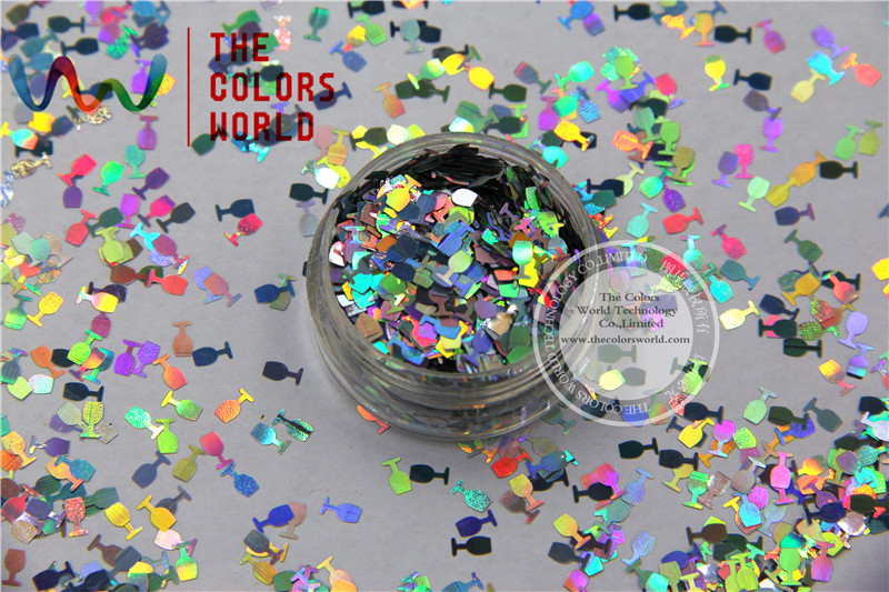 TCA100 Laser Silver Color Goblet Shape 5MM Size Glitter dust ,Specular luster glitter for nail,tatto,Art decoration and others