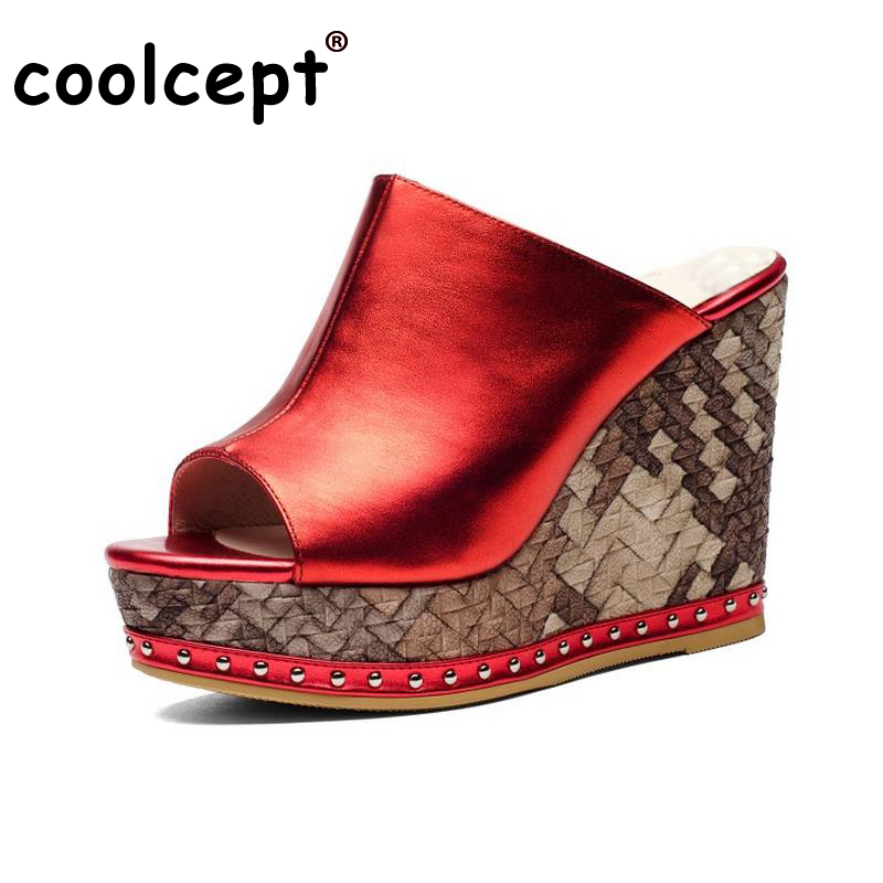 Coolcept Sexy Ladies Real Leather High Heel Sandals Women Platform Slipper Peep Toe Shoes Sexy Party Party Footwear Size 34-39 women peep toe ankle strap platform high heel sandals summer sexy fashion ladies heeled footwear heels shoes size 34 39 p16703