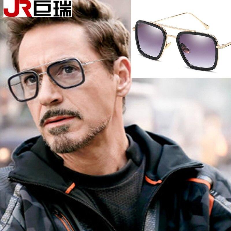 Retro Red Len Aviator Sunglasses Steampunk Tony Stark Iron Man Robert Downey Jr