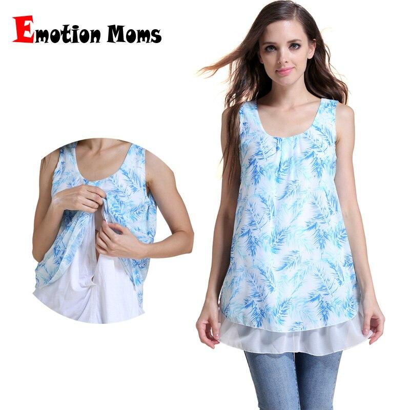 Emosi Ibu Musim Panas Sifon Bersalin Pakaian Atasan Menyusui untuk Wanita Hamil Bersalin T-shirt Tank Tops