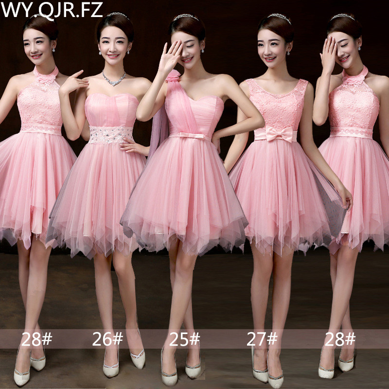 PSQY-F#New Short Pink Bridesmaid Dresses For Spring And Summer 2019 Girl Wedding Party Prom Toast Dress Sister Group Wholesale