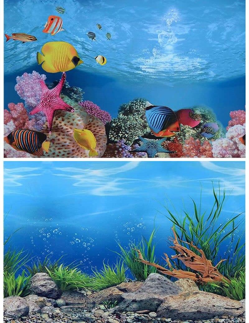 Freshwater aquarium fish poster - 40 50cm H Pvc Double Sided Aquarium Fish Tank Background Poster Decoration Aquarium
