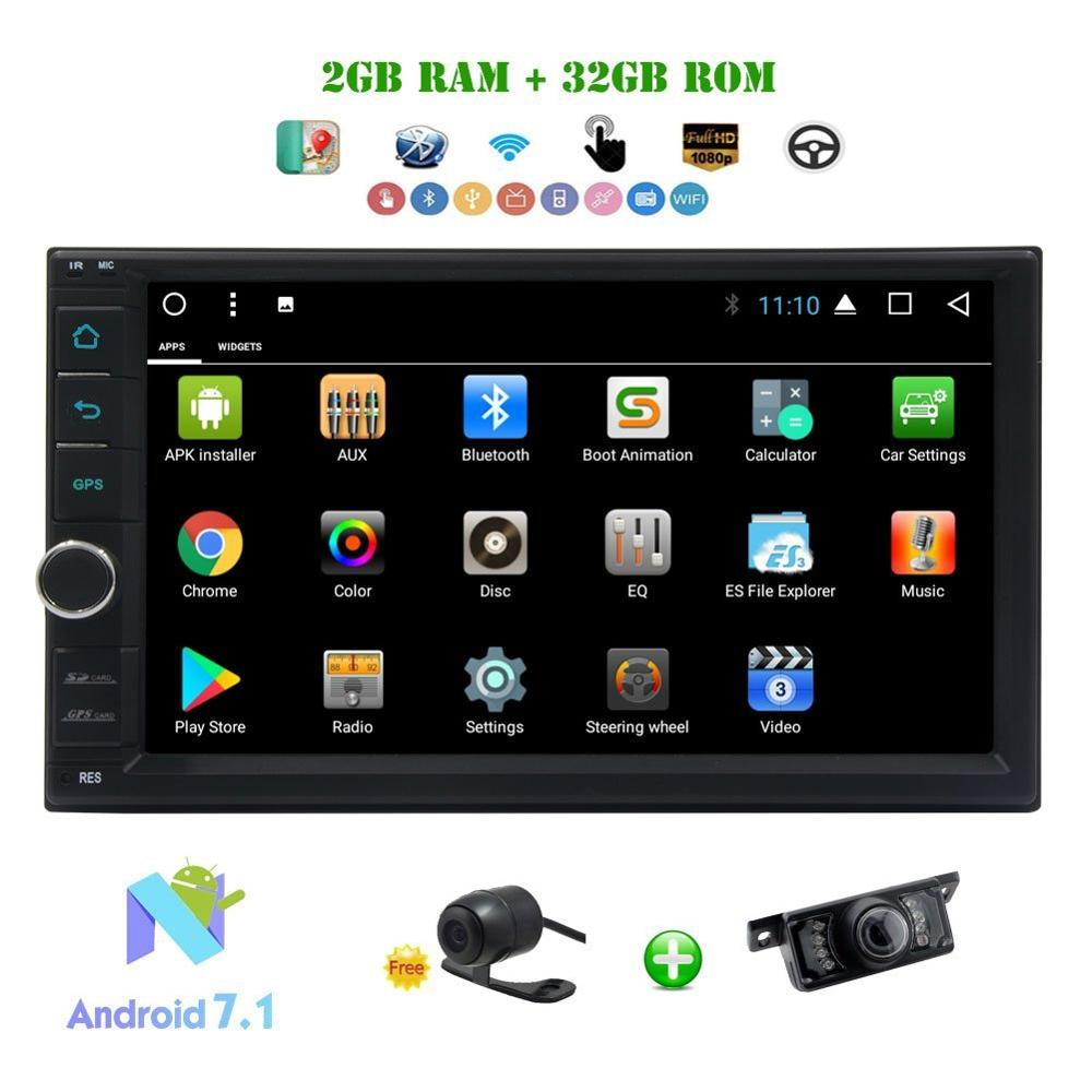 Car Radio 2Din Android 7.1 Car Stereo Octa-core 2GB+32GB 7 Multimedia Player In Dash Head Unit 4G DAB+ OBD2+Front&Backup Camera
