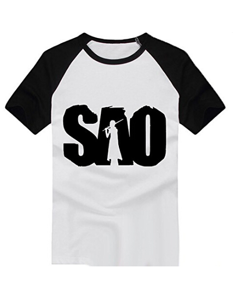 SAO Sword art online Kirito cosplay T-shirt  white T shirt Cosplay Costume For Halloween Carnival Tops