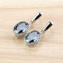 Natural Oval Mystic Rainbow Zircon Dangle Earring 925 Sterling Silver Jewelry Drop Crown Earrings For Women