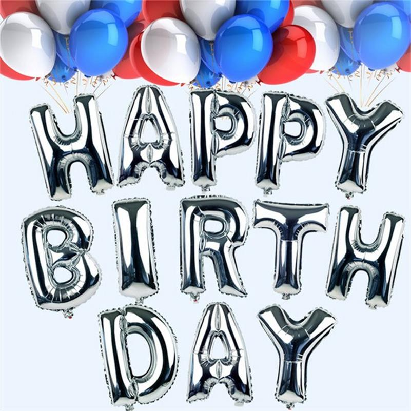 1pc 16 Sliver Alphabet Letters Number Helium Balloons Birthday New Year Foil Balloon Party Wedding Decoration Aluminium Ballon