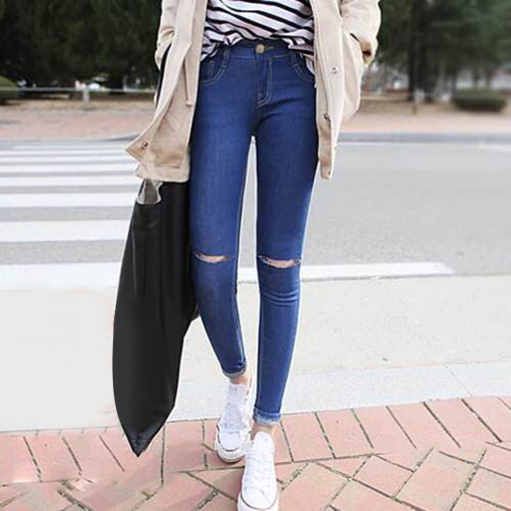 Fashion  High Elastic Cotton Women's Dark Blue Jeans Pants Ripped Hole Knee Skinny Stretch Pencil Denim Pants For Ladies 2016 high quality mens jeans blue color printed jeans for men ripped button jeans casual pants quality cotton denim jeans