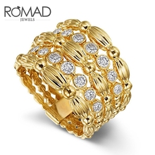 цена на ROMAD Luxury Engagement Finger Ring For Women Gold Color Flower Wide Hollow Love Wedding Rings Cubic Zirconia Fashion Jewelry R5