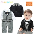 16 New Baby meninos roupas Set ternos de algodão casacos / casacos + romper 2 pcs define o estilo de cavalheiro roupa recém-nascido infantil Rompers ternos
