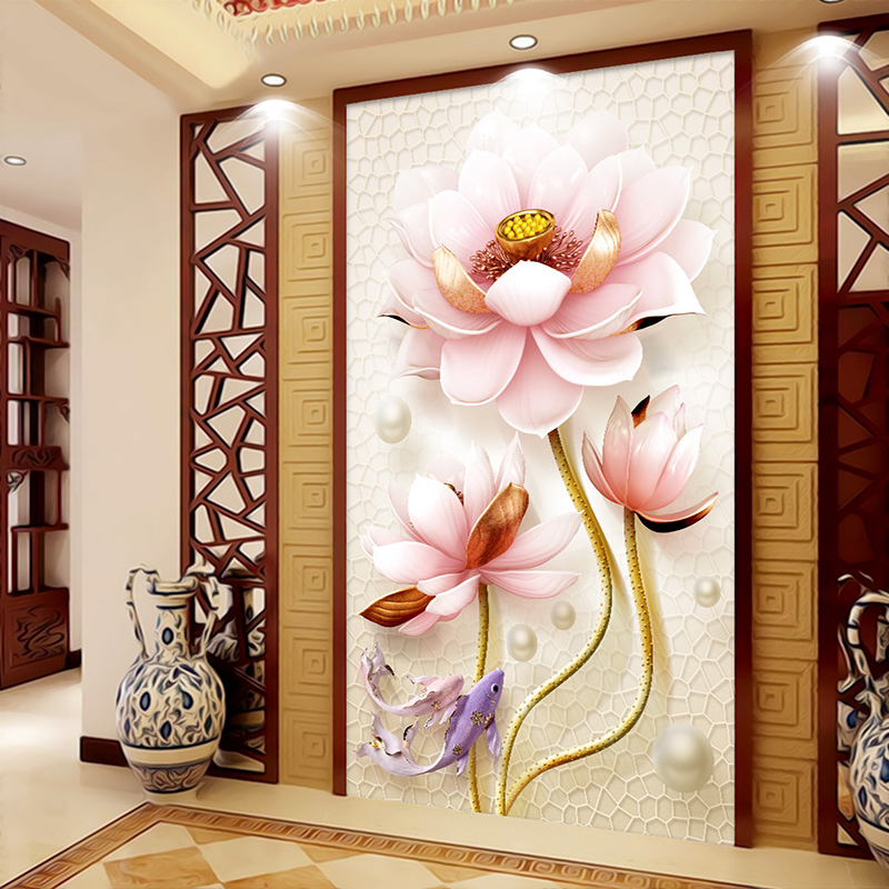 Custom 3D Photo Wallpaper Chinese Style 3D Lotus Relief Non-woven LivingRoom Entrance Decor Mural Wall Painting Wallpaper Flower