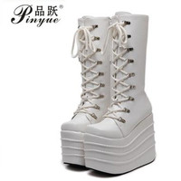 Big Size 34 43 Womens Fashion Punk Style White/Black Cosplay Boots Square Toe Wedges Platform Boots Leather Long Boots