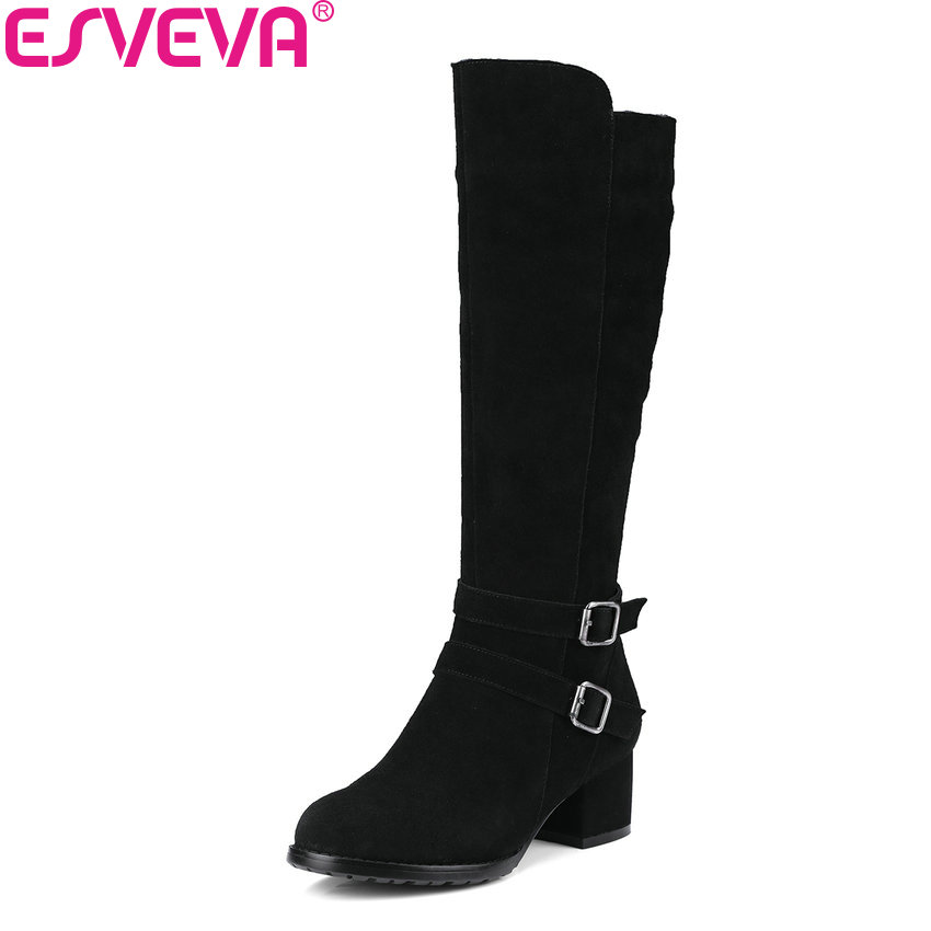 ESVEVA 2018 Women Boots Short Plush Knee-high Boots Elegant Cow Suede Ladies Warm Square High Heels Ladies Long Boots Size 34-40 esveva 2018 women boots square high heels boots pu cow leather short plush pointed toe knee high boots ladies boots size 34 42
