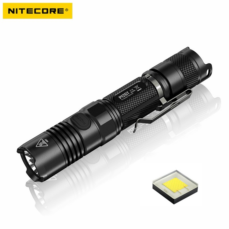 NITECORE P12GT CREE XP-L HI V3 1000LM LED Flashlight Hard Light by 1*18650 Battery for Camping nitecore p12gt cree xp l hi v3 1000lm led flashlight 320 meter torch new i2 charger 18650 3400mah battery for search