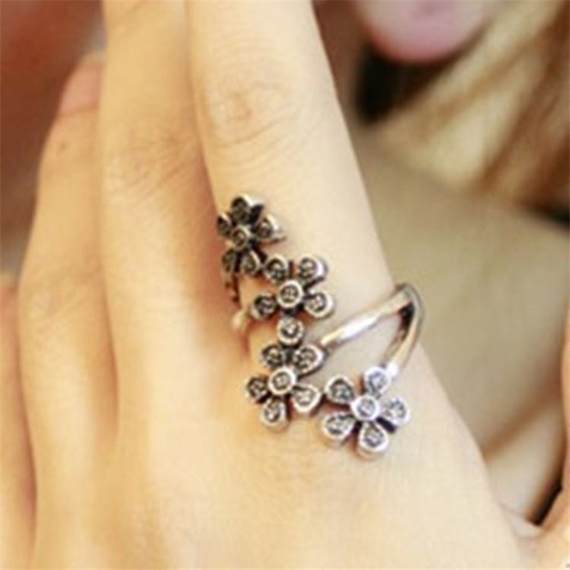 Summer real Beautiful girl rings Korean jewelry Four small plum ...