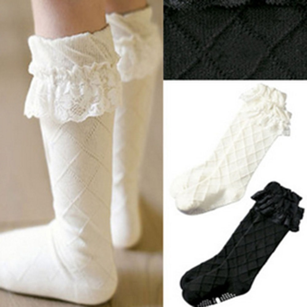New Toddler Girls Lace Socks Thick Cotton Knee Length High Socks 3 ...