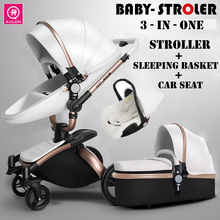 Luxury Baby Stroller Leather Fashion Carriage European Pram Suit for Lying and Seat
