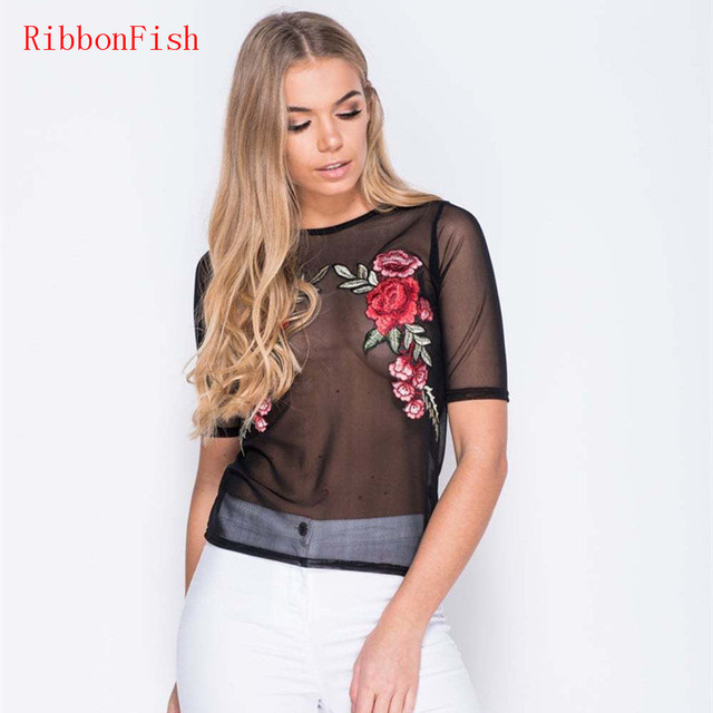 Rose Flower Embroidery Women Novelty Hollow-out Transparent Mesh Fabric Tops  T-Shirts Lady