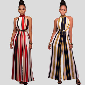 S-XXL NEW Sleeveless Turtleneck Stripes High Waist Flared Jumpsuits Women jumpsuit For Female mono Rompers Wide Leg Pants Y-NEW