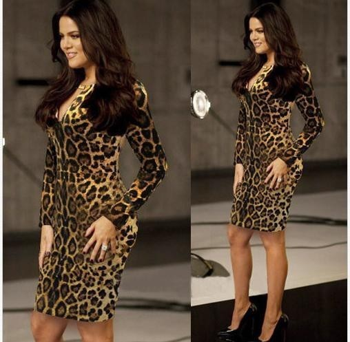 New Chic Fashion Vestidos Long Sleeve Leopard Dress Plus Size For ...
